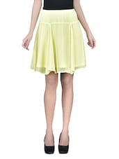 Yellow Plain Poly Chiffon Skirt With Gathers And Elastic - By