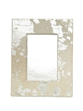 Ivory And Silver Leather Photo Frame - By