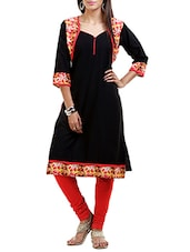 Black Poly Crepe Aline Kurta - By