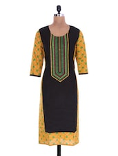 Black Cotton Printed Kurta - By