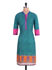 Dark Green Cotton Embroidered Kurta - By