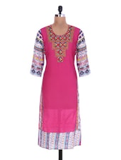 Pink Cotton Rayon Embroidered Kurta - By