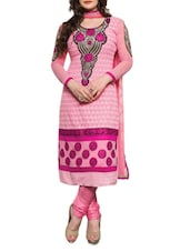 Pink Embroidered Faux Georgette Suit Set - By