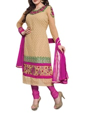 Beige Embroidered Faux Georgette Suit Set - By