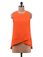 Orange Poly Crepe Overlapped Top - By