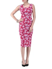 Pink Knitted Polyester Rose Party Wear Dress - By