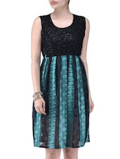 Green Poly Lace Short Party Wear Dress - By
