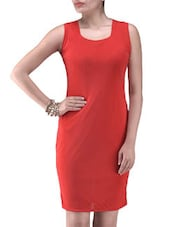 Red Net Solid Party Wear Dress - By