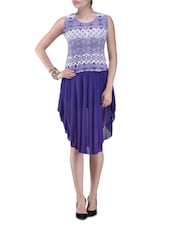 Purple Printed Polyester Party Wear Dress - By