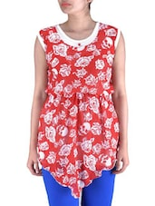 Red Knitted Polyester Short Party Wear Dress - By