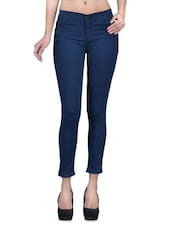 Solid Blue Denim Lycra Stretchable Jeans - By