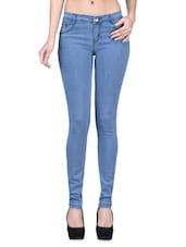 Light Blue Denim Lycra Stretchable Jeans - By