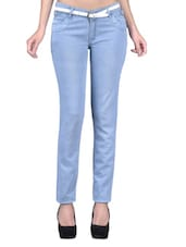 Ice Blue Denim Lycra Stretchable Jeans - By
