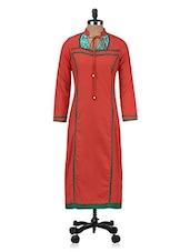 Orange Embroidered Beaded Patch Worked Cotton Kurti - By