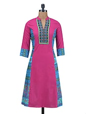 Pink Printed Embroidered Cotton Kurti - By