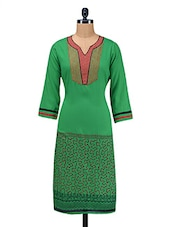Green Printed Embroidered Patch Worked Rayon Kurti - By