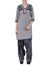 Grey Printed Gathered Cotton Kurti - By