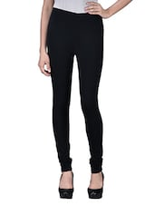 Black Plain Cotton Spandex Knit Leggings - By