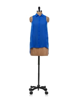 Bright Blue Sleeveless Shirt - Forever  New