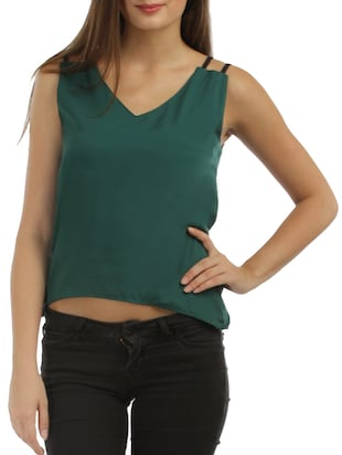 teal green crepe top -  online shopping for Tops