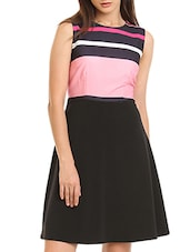 black striped a-line dress -  online shopping for Dresses
