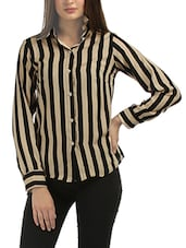 black and beige striped crepe regular shirt -  online shopping for Shirts