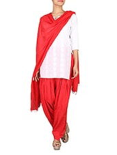 Solid Red Cotton Patiala Salwar And Dupatta Set - By