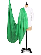 Solid Green Cotton Dupatta - By