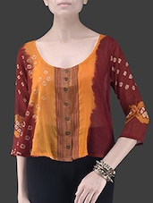 Orange And Maroon Cotton Short Shrug - By