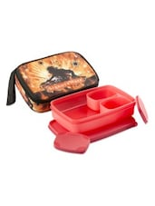 Red Plastic Compact Lunch Box  (with Bag) - By