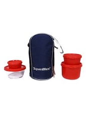 Red Plastic Lunch Box With Bag - By