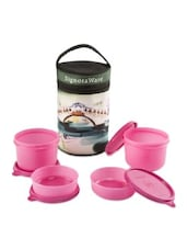 Pink Plastic Lunch Box With Bag - By