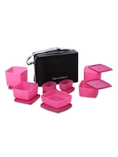 Pink Plastic Picnic Lunch Box With Bag - By