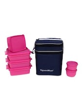 Pink Plastic Family Pack Lunch With Bag - By