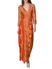 Red Printed Maxi Wrap Dress - LABEL Ritu Kumar