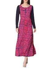 Fuchsia And Navy Blue Printed Long Dress - LABEL Ritu Kumar