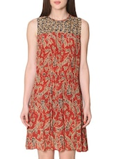 Rust Printed Sleeveless Short Dress - LABEL Ritu Kumar