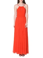Orange Pleated Viscose Maxi Dress - LABEL Ritu Kumar