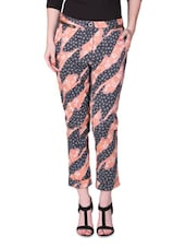 Peach And Navy Blue Printed Pants - By