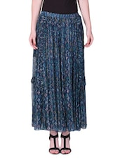 Dark Blue Printed Maxi Skirt - LABEL Ritu Kumar