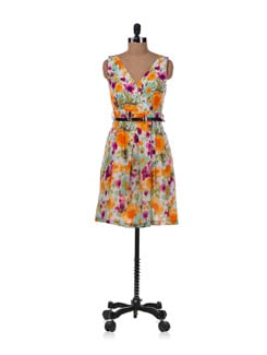 Multicolored Floral Dress With Belt - Allen Solly