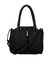 Black Textured Leatherette Handbag - By