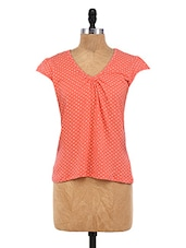 Peach Cotton Spandex Printed Top - By