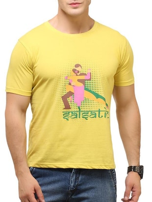 yellow cotton printed t-shirt -  online shopping for T-Shirts