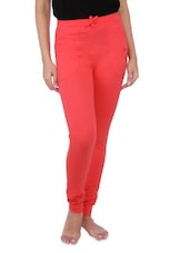 Solid Red Cotton Spandex Pants - By