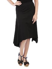 Solid Black Cotton Spandex Flare Skirt - By