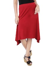 Solid Red Cotton Spandex Flare Skirt - By