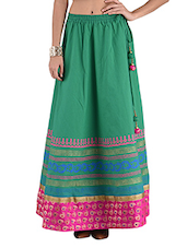 Sea Green Printed Flared Cotton Long Skirt - By