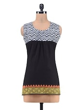 Black Cotton Printed Kurta With Gathers - By