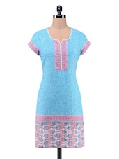 Blue Cotton Printed Kurta - By